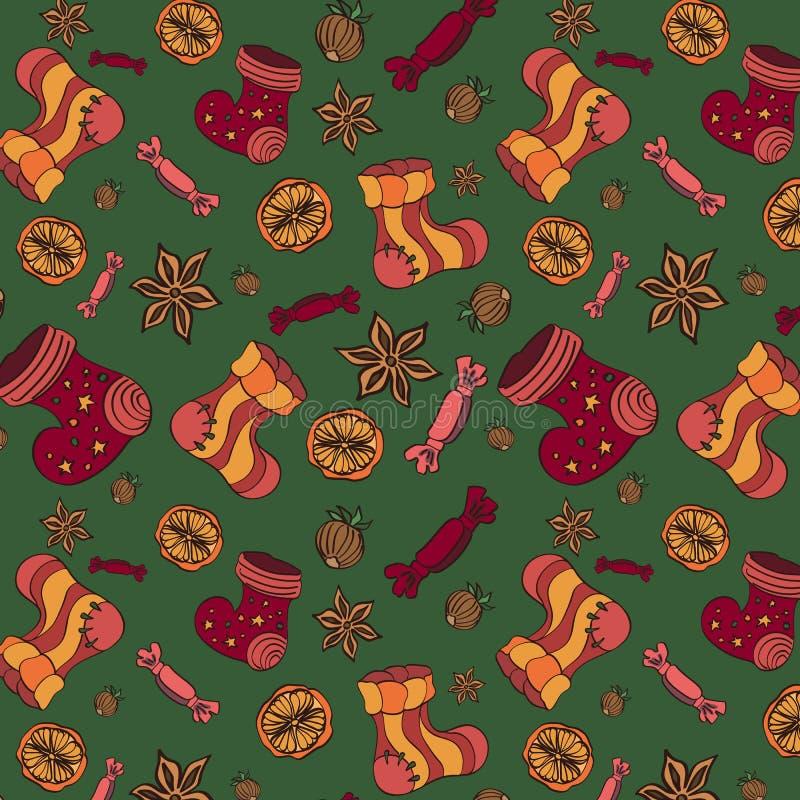 De vectorachtergrond van patroonkerstmis met snoepjes en sokken stock illustratie