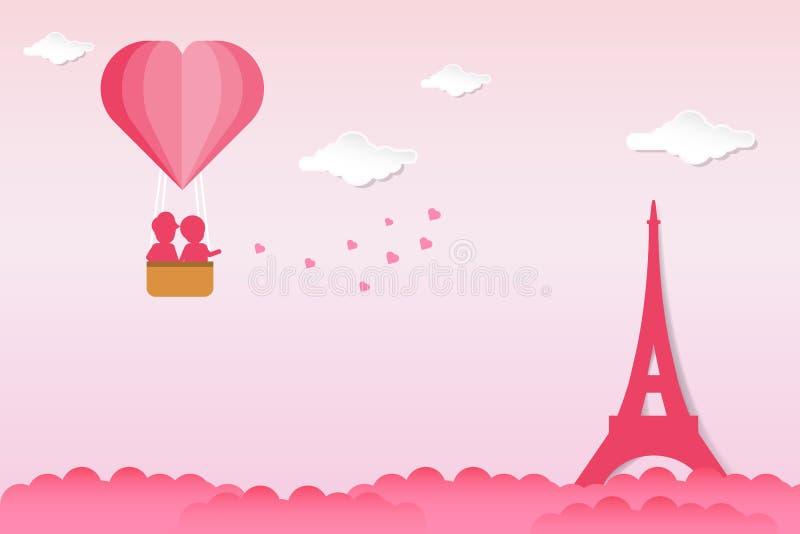 De vectorachtergrond van de valentijnskaartendag in document sneed stijlontwerp Paren die hartvorm houden, die zich boven wolken  stock afbeelding