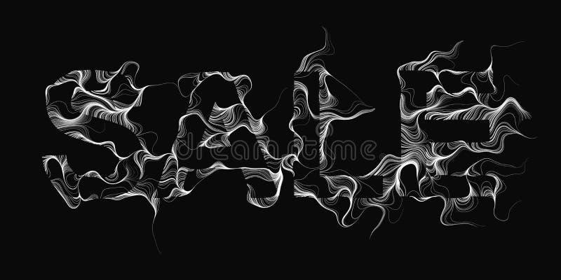 De vectorachtergrond van de Verkooptekst met witte brandvlammen Golvende draden van zwarte brieven De zwarte illustratie van de v vector illustratie