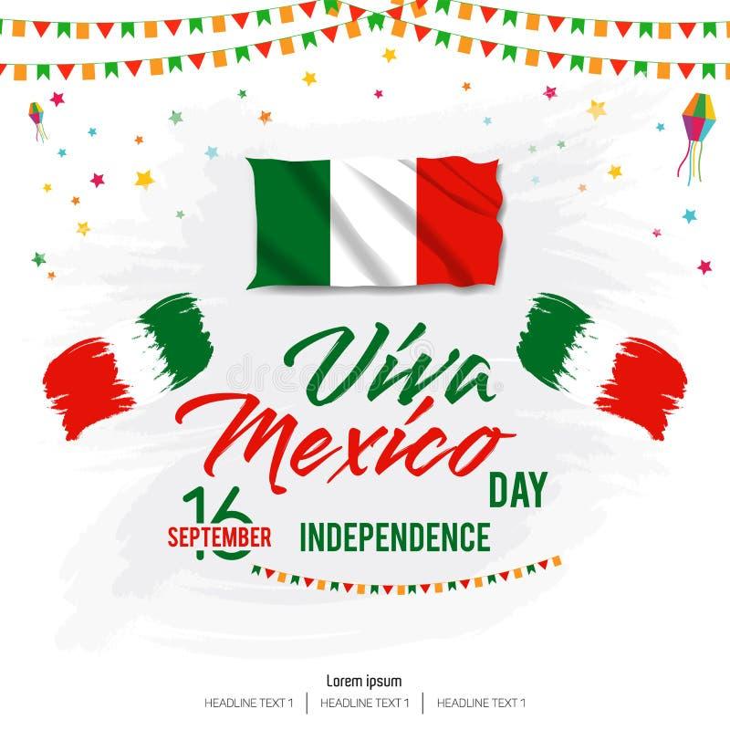 De Vectorachtergrond van Viva Mexico Happy Independence Day royalty-vrije illustratie