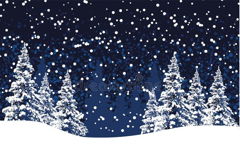 De vectorachtergrond van de winterkerstmis met pijnboombomen en sneeuw vector illustratie