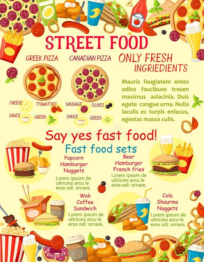 Download De Vectoraffiche Van Het Voedselsnacks Van De Snel Voedselstraat Vector Illustratie - Illustratie bestaande uit voedsel, maaltijd: 107707379