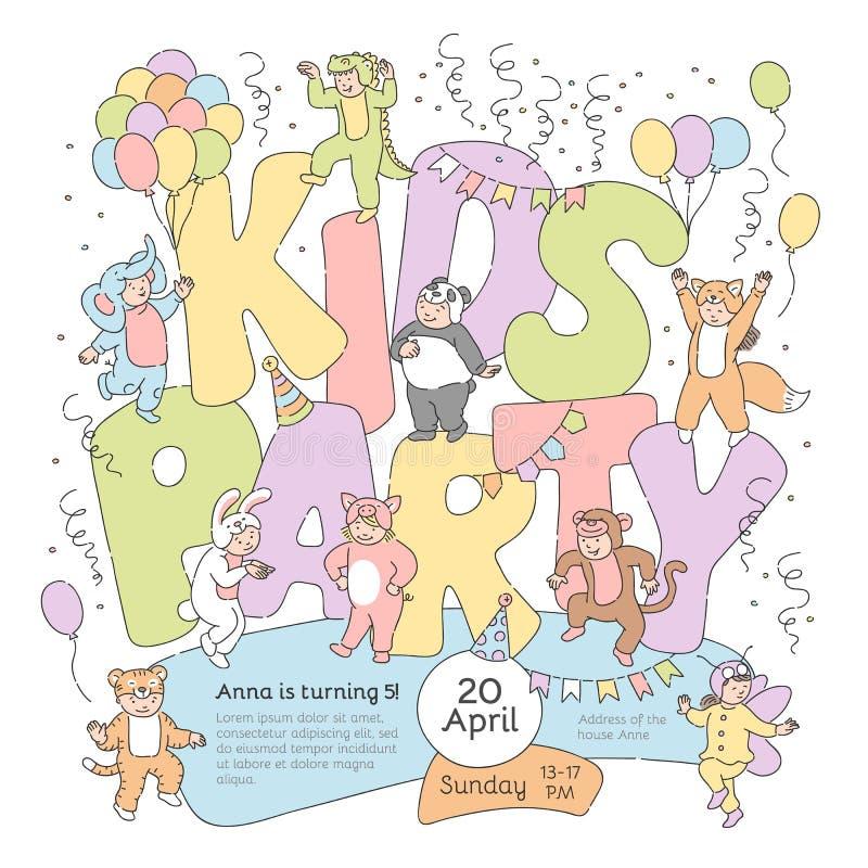 De vectoraffiche van de jonge geitjespartij met kostuumkinderen royalty-vrije illustratie