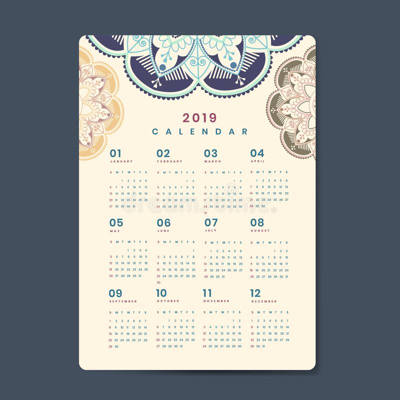 De vectoraffiche van de Mandalakalender 2019 royalty-vrije illustratie