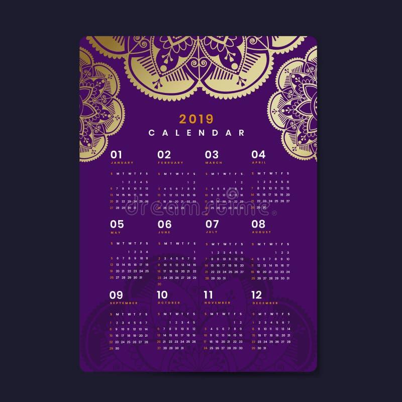 De vectoraffiche van de Mandalakalender 2019 vector illustratie