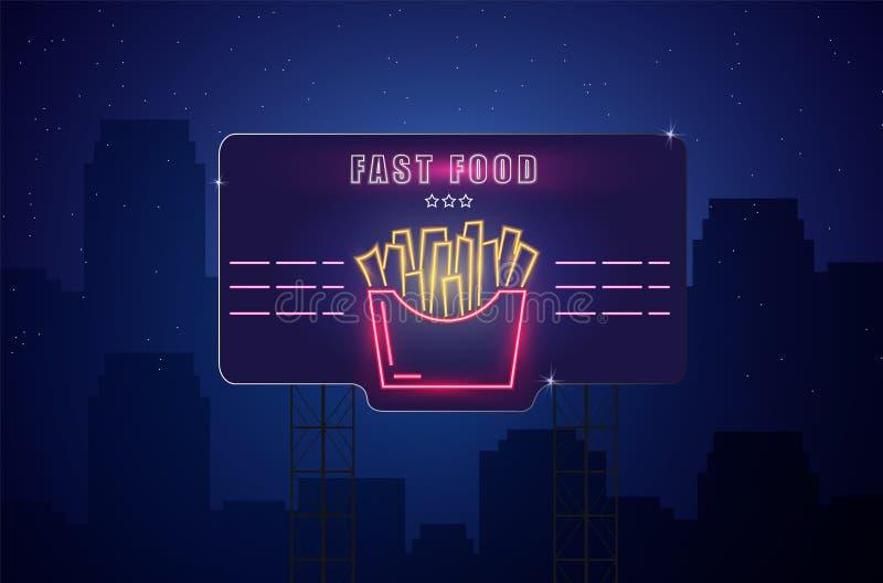 De Vectoraffiche van neongebraden gerechten De gloeiende achtergrond van de teken donkere stad Fastfood licht aanplakbordsymbool  vector illustratie
