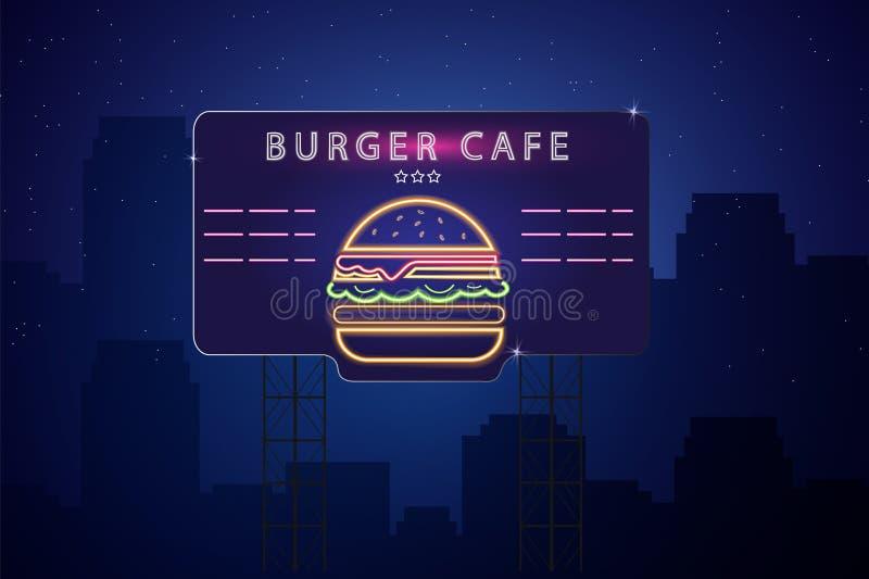De Vectoraffiche van de neonhamburger De gloeiende achtergrond van de teken donkere stad Fastfood licht aanplakbordsymbool Koffie vector illustratie