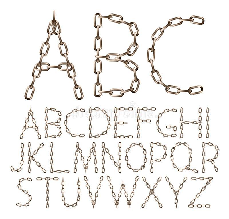 De vectoralfabetbrieven maakten van bruine realistische die ketting, op wit wordt geïsoleerd stock illustratie
