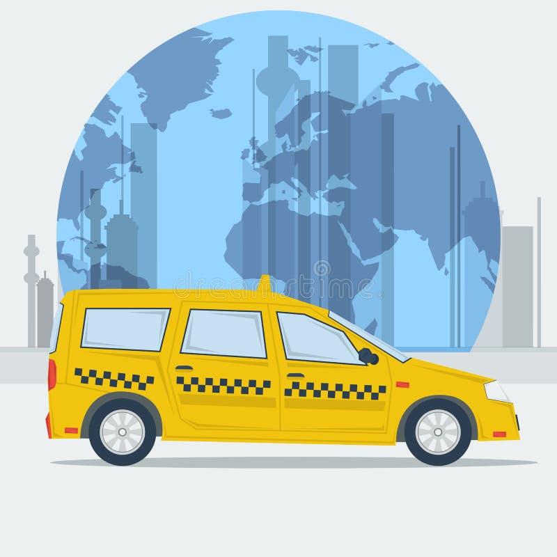De vectorauto van de illustratietaxi op stadsachtergrond stock illustratie
