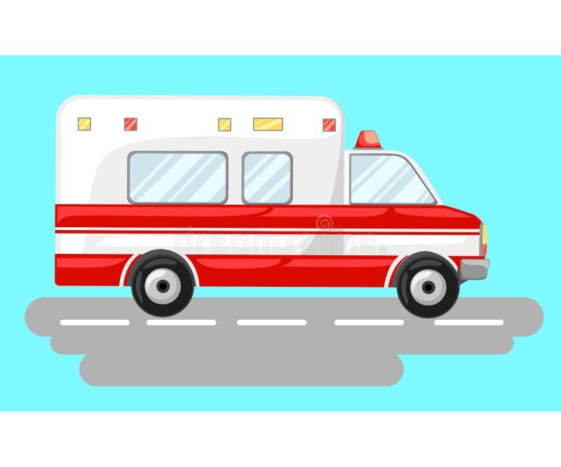 De vectorauto van de illustratieziekenwagen op blauwe achtergrond Van de de noodsituatieziekenwagen van de ziekenwagen autoparame vector illustratie