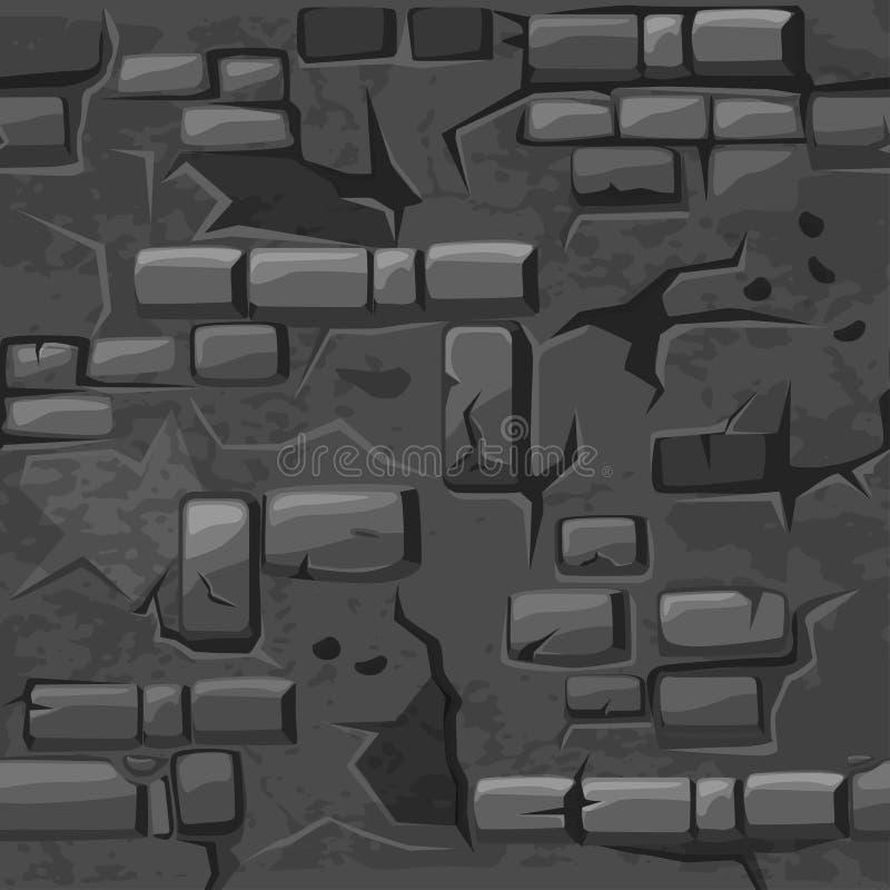 De vectorbakstenen muur van de de textuur oude Grijze barst van het Beeldverhaal naadloze patroon vector illustratie