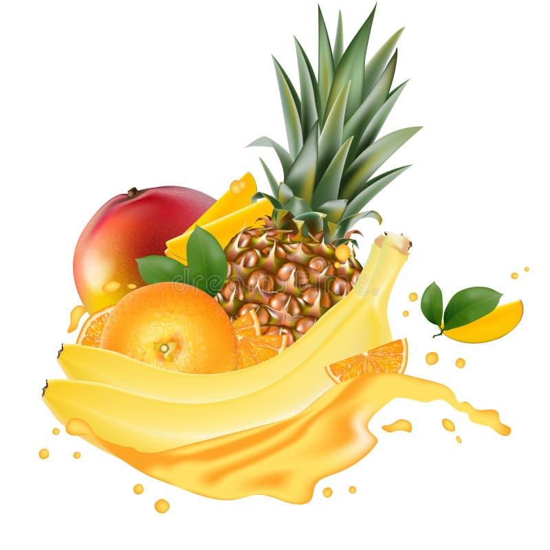 De vectorbanner van de advertenties 3d bevordering, Realistische mango, sinaasappel, banaan, stock illustratie