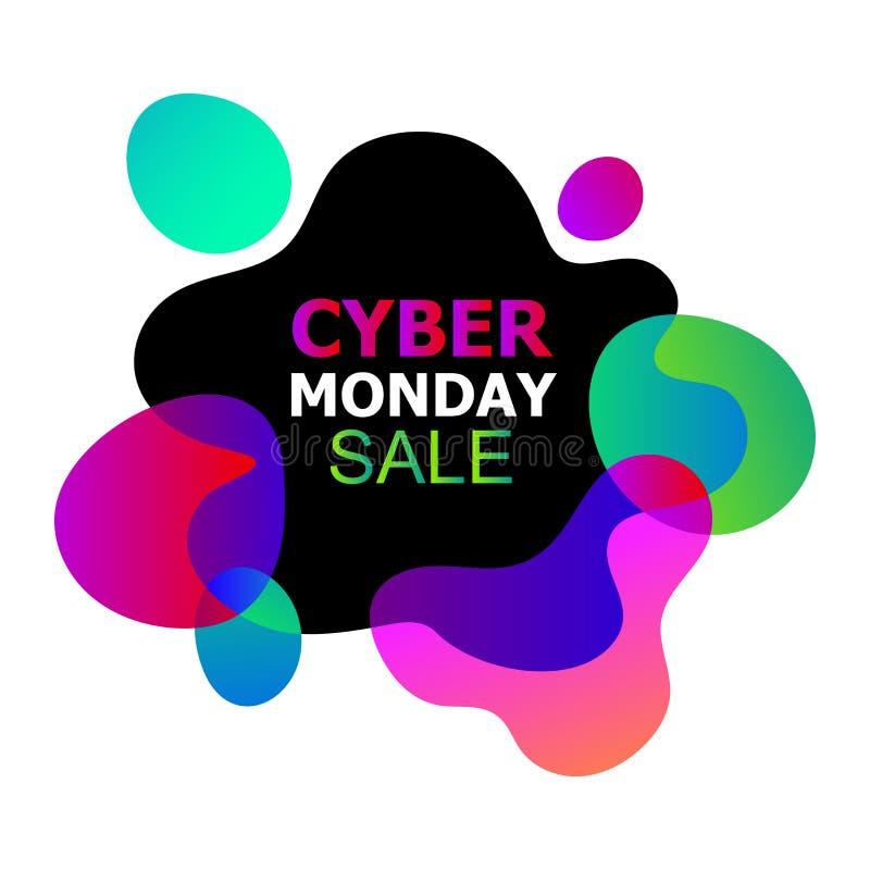 De Vectorbanner van de Cybermaandag in de in abstracte vloeibare organische vloeibare vormen van neongradiënten, verkoopaftrek va royalty-vrije illustratie