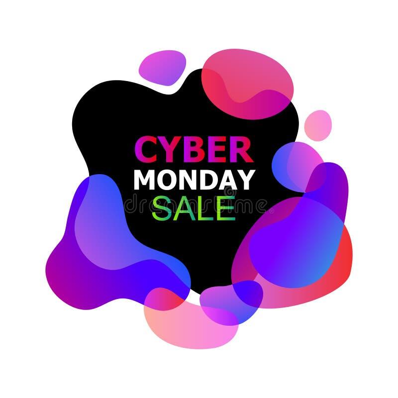 De Vectorbanner van de Cybermaandag in de in abstracte vloeibare organische vloeibare vormen van neongradiënten, verkoopaftrek va stock illustratie