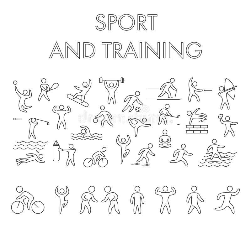 De vectorbanner van het het conceptenweb van het lijnontwerp voor sport stock illustratie