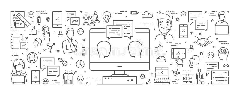 De vectorbanner van het lijnweb voor koppelt terug royalty-vrije illustratie