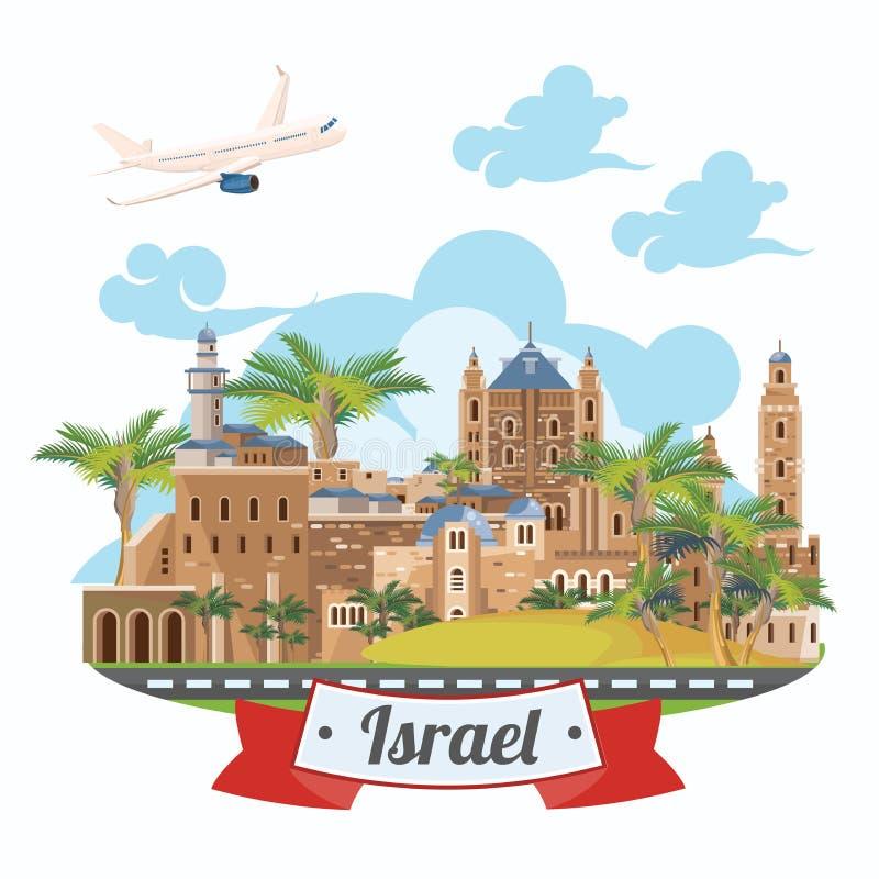 De vectorbanner van Israël met Joods oriëntatiepunten en vliegtuig Reis naar Israël royalty-vrije illustratie