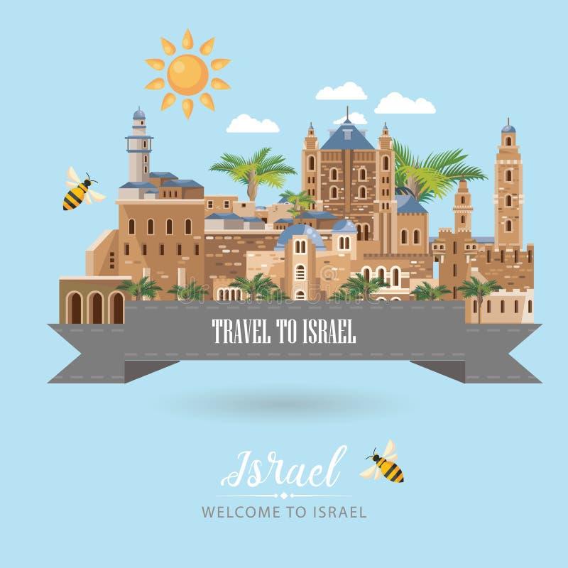De vectorbanner van Israël met Joodse oriëntatiepunten, band en bijen Onthaal aan Israël Reisaffiche in vlak ontwerp royalty-vrije illustratie