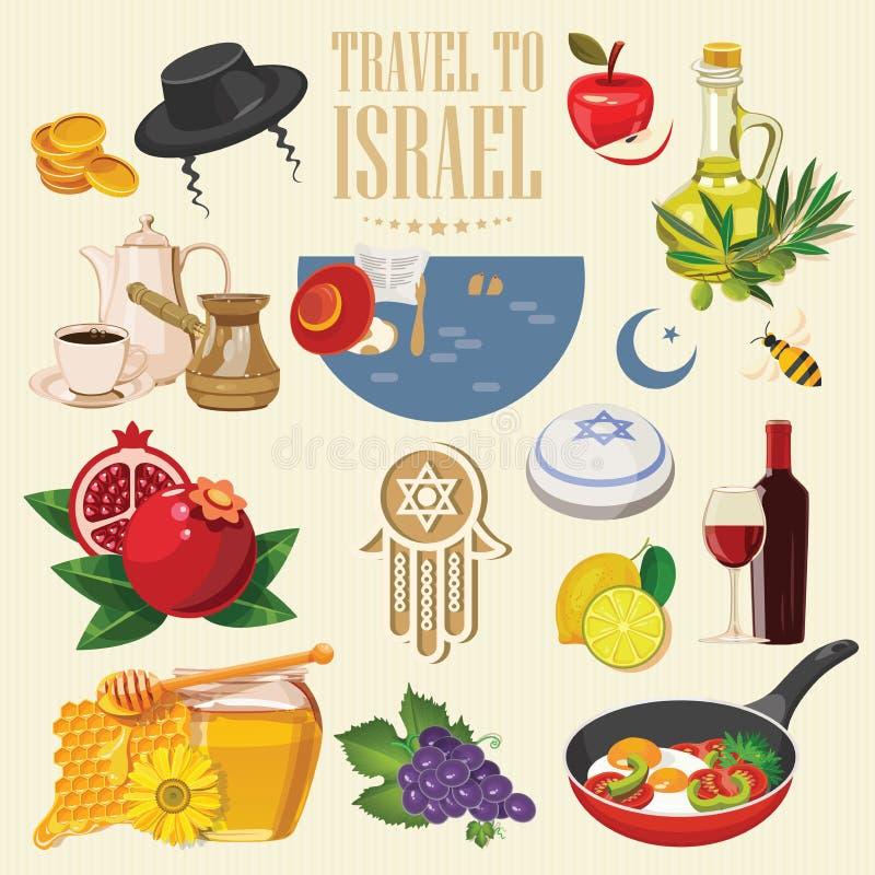 De vectorbanner van Israël met Joodse oriëntatiepunten Reeks traditionele pictogrammen Onthaal aan prachtig Israël Reisaffiche in stock illustratie