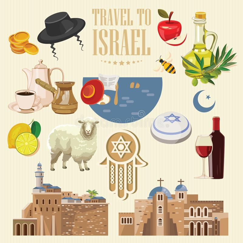 De vectorbanner van Israël met Joodse oriëntatiepunten Reeks traditionele pictogrammen op lichte achtergrond vector illustratie