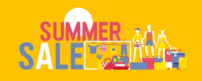 De vectorbanner van de de zomerverkoop De zomerdecoratie met beeldverhaalmensen in stranddoeken en koffers Illustratie met stock illustratie