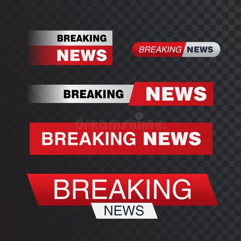 De vectorbars van TV, brekende nieuwsbanner, Nieuwsbanner voor het uitzenden van TV stromende televisie videoillustratie stock illustratie