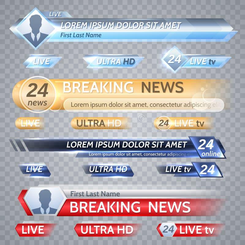 De vectorbars van TV en uitzendingsgrafiek voor lagere derde nieuwsachtergrond royalty-vrije illustratie