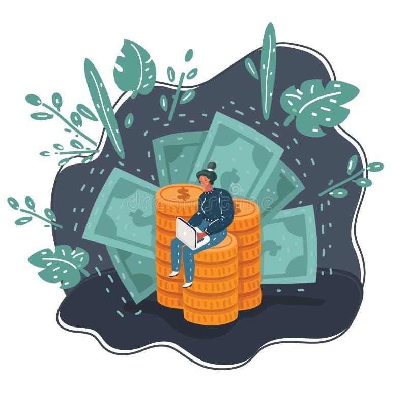 De vectorbeeldverhaal bedrijfsconceptenvrouw met grote muntstukstapel en de toespraak borrelen voor ontwerp stock illustratie