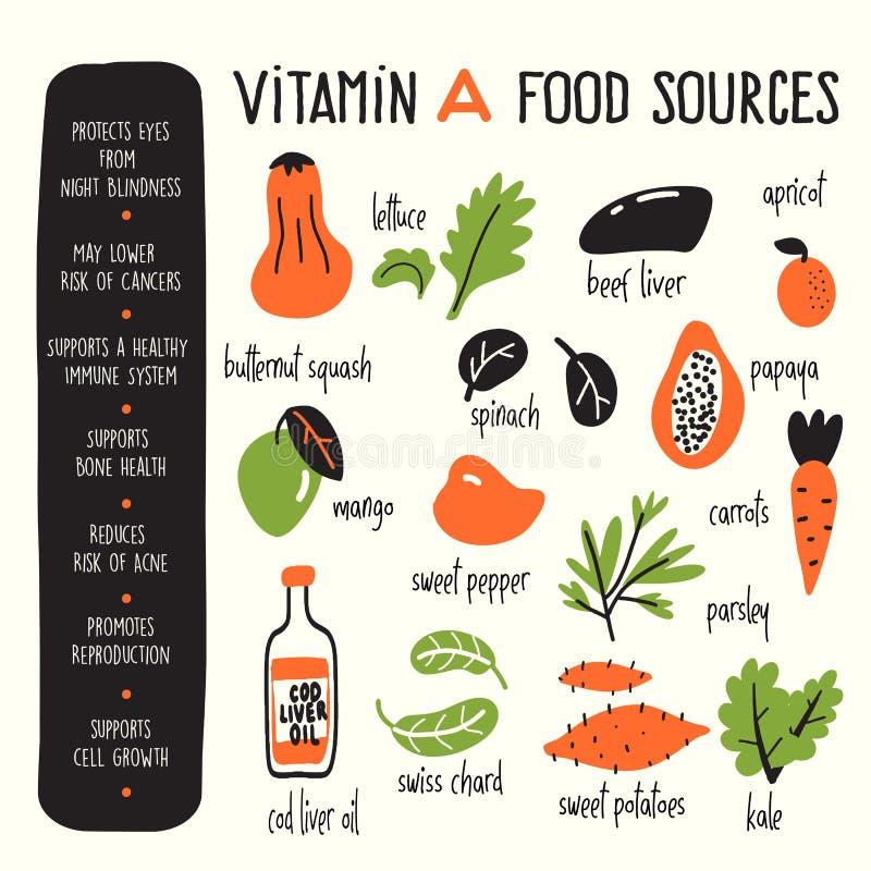 De vectorbeeldverhaalillustratie van Vitamine Abronnen en informatie over het profiteert Infographicaffiche royalty-vrije illustratie