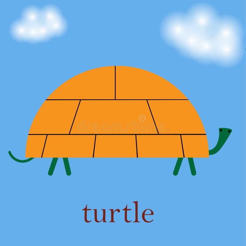 De vectorbeeldverhaalillustratie van zeeschildpad in vlak eenvoudig ontwerp isoleerde blauwe achtergrond vector illustratie