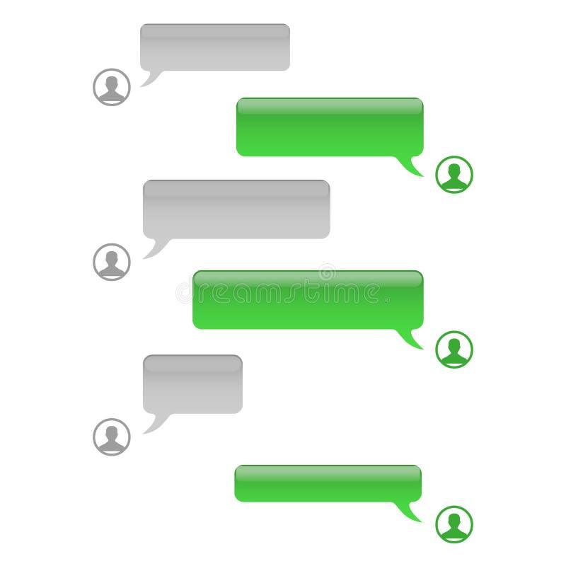 De vectorbellen van het telefoonpraatje Smsberichten De bellen van de toespraak De Bellen van de Dienst voor korte berichten vector illustratie