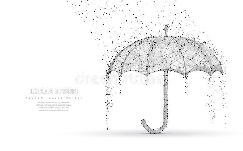 De vectorbescherming van de parapluregen Abstracte lage POY-parapludekking in regen vector illustratie