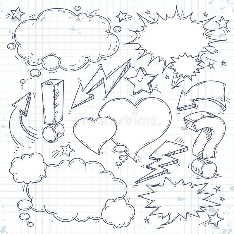 De vectorbespreking en denkt, schetst bellen, bliksem en pijl royalty-vrije illustratie