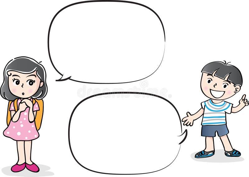 De vectorbespreking van tekeningsjonge geitjes met toespraakbel royalty-vrije illustratie