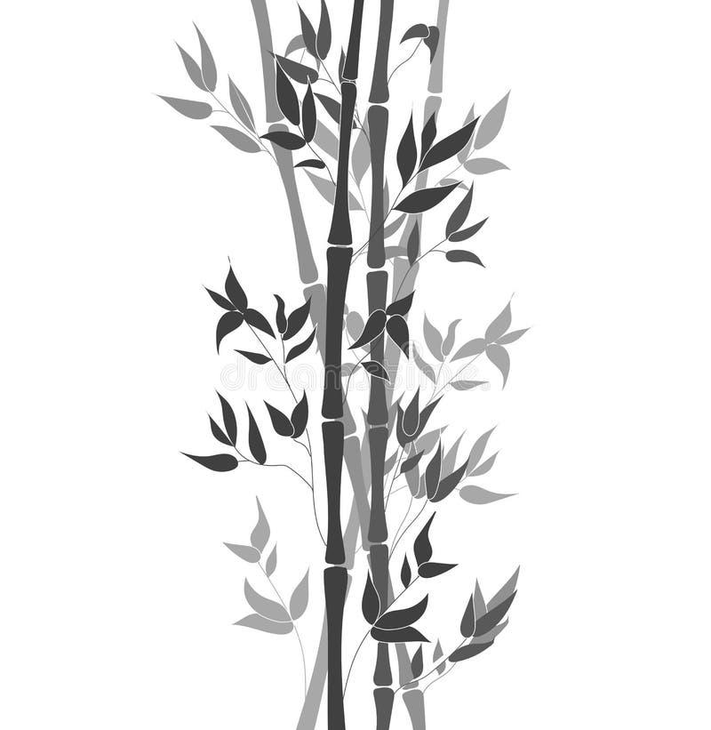 De vectorbladeren van de Bamboestam, Zwart-witte Ilustration, Decoratieve Elementenachtergrond vector illustratie