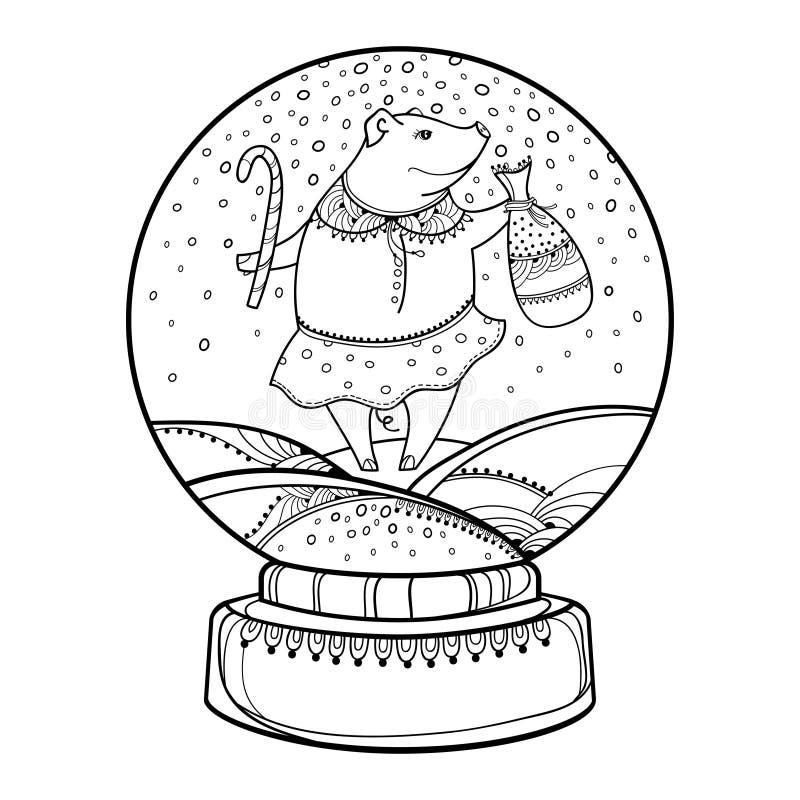 De vectorbol van de overzichtssneeuw of sneeuwbal met dalende sneeuwvlokken en leuk die varken in zwarte op witte achtergrond wor stock illustratie