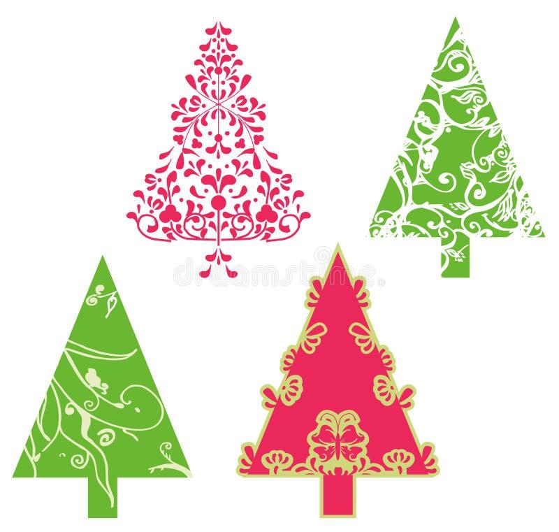 De vectorbomen van Kerstmis stock illustratie