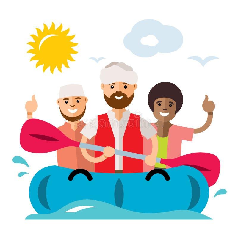 De vectorboot van Vluchtelingsmigranten Illegale migratie De vlakke illustratie van het stijl kleurrijke Beeldverhaal stock illustratie