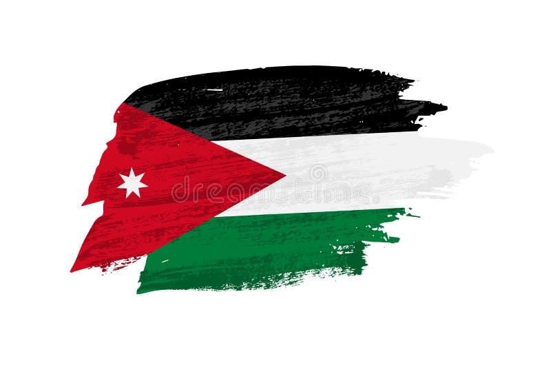 De vectorborstel geschilderde vlag van Jordanië Hand getrokken stijlvlag van Jordanië royalty-vrije illustratie