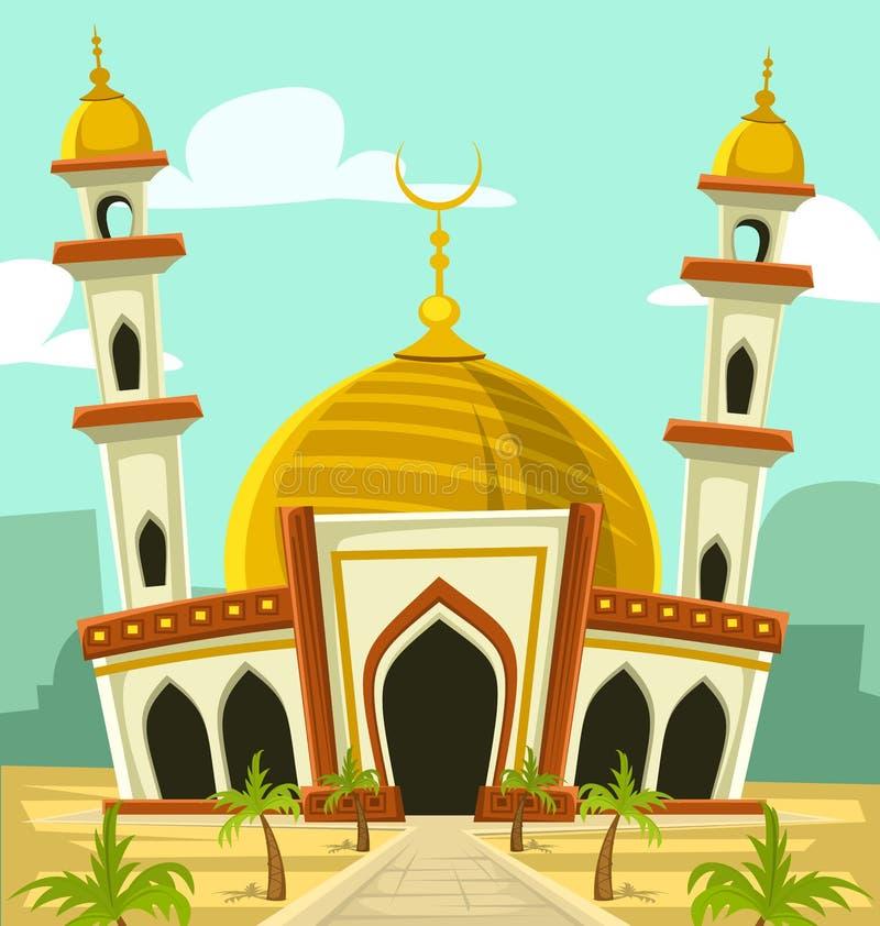 De vectorbouw van de beeldverhaalmoskee met gouden koepel en toren royalty-vrije illustratie