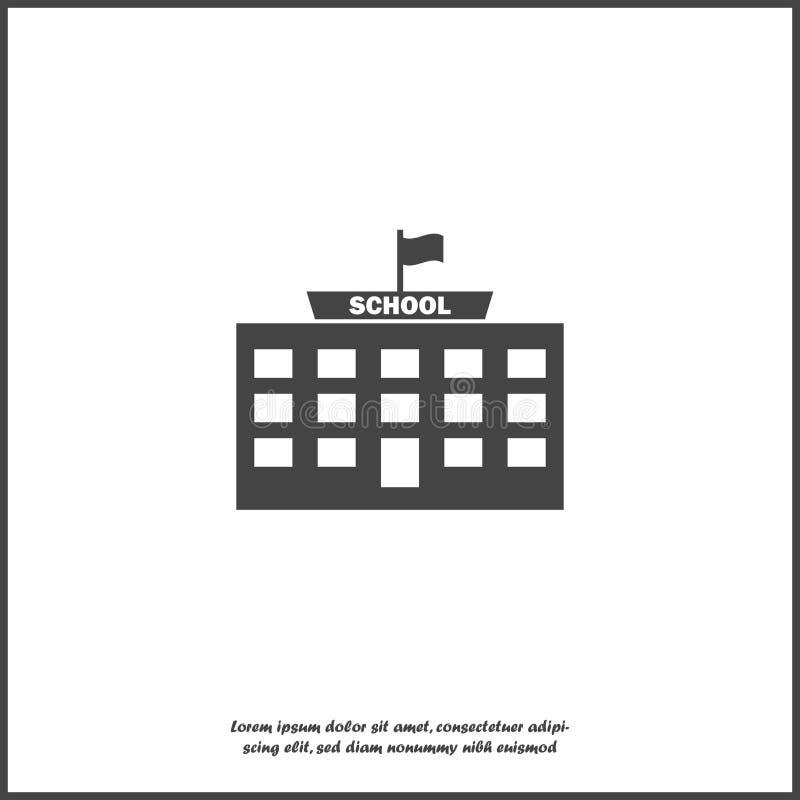 De vectorbouw van de pictogramschool op wit geïsoleerde achtergrond Lagen voor gemakkelijke het uitgeven illustratie worden gegro stock illustratie