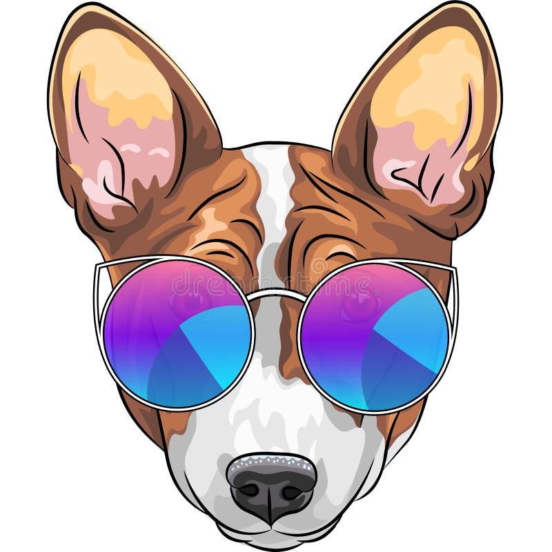 De vectorbrak van de hipster ernstige hond in glazen