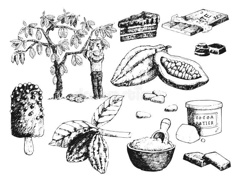 De vectorcacaoproducten overhandigen getrokken het voedselchocolade van de schetskrabbel zoete illustratie royalty-vrije illustratie