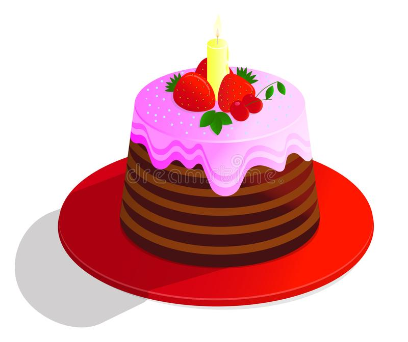 De vectorcake van de tekenings kleurrijke chocolade van verfraaid met decor, room en vruchten, op witte achtergrond royalty-vrije illustratie