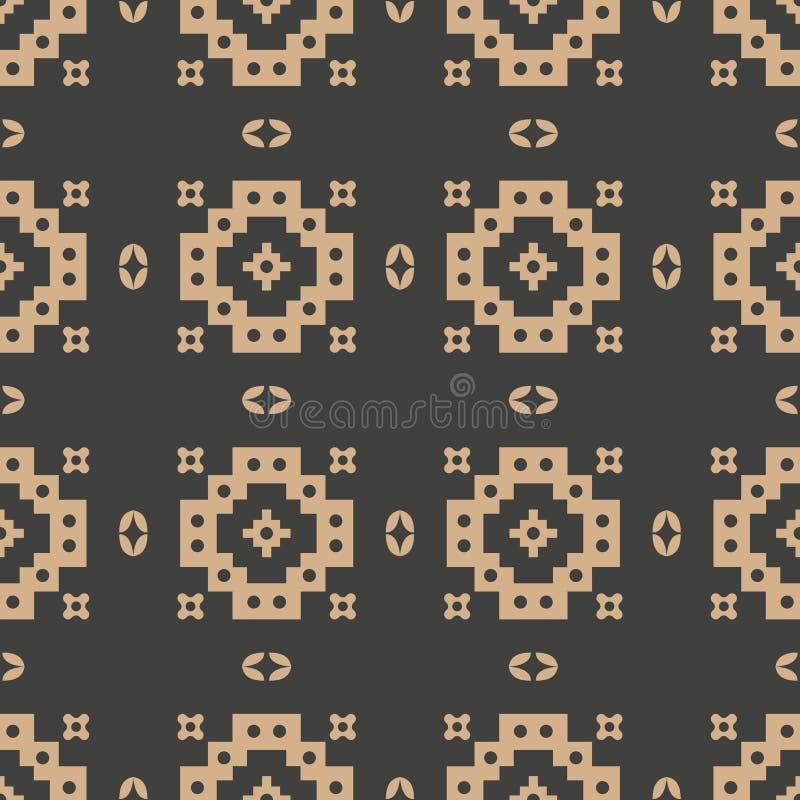 De vectorcaleidoscoop van het van het achtergrond damast naadloze retro patroon meetkunde vierkante dwarskader Het elegante ontwe royalty-vrije illustratie