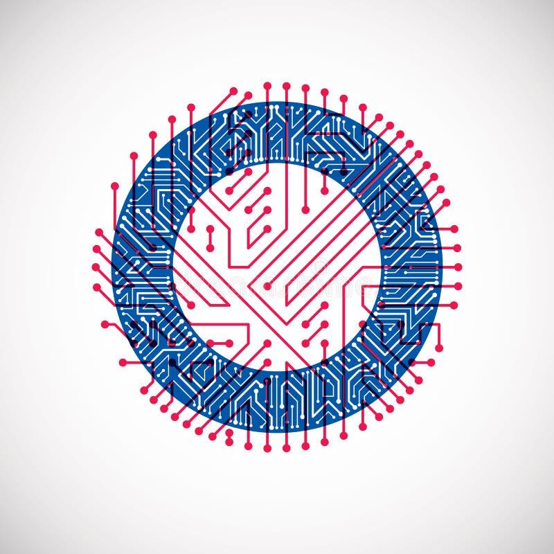 De vectorcirkel van de kringsraad, digitale technologieënabstractie De blauwe en rode regeling van de computermicroprocessor royalty-vrije illustratie