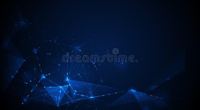 De vectorcommunicatietechnologie van het ontwerpnetwerk op donkerblauwe achtergrond royalty-vrije illustratie