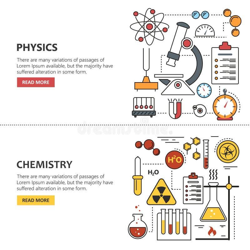 De vectorconcepten van de wetenschapsbanner in lijnstijl Chemie en Fysicaontwerpelementen, symbolen, pictogrammen royalty-vrije illustratie