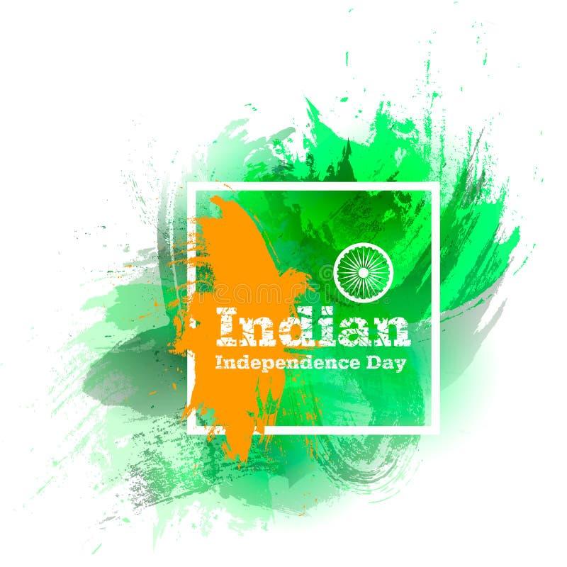 De vectordag van de illustratie Indische Onafhankelijkheid, de vlag van India in in stijl 14 August Watercolor-ontwerpmalplaatje  royalty-vrije illustratie