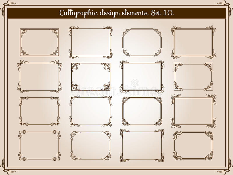 De vectordecoratiewijnoogst bloeit kaders met elegante werveling en rolhoekelementen stock illustratie